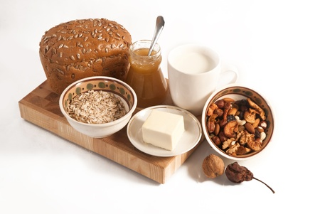 healthy  meal with bread,milk and cereals isolated Stock Photo - 19516188