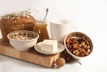 healthy  meal with bread,milk and cereals isolated Stock Photo - 19516185