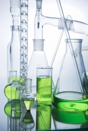 Laboratory glassware  over white background