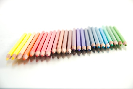 close up  of color pencils on white background