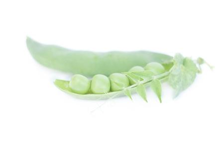 Sweet green peas on white Stock Photo