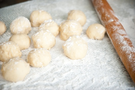 Prepared dough in ball shape on silver tray