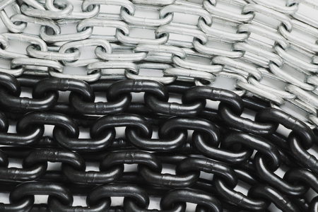 Two-colored chain heap - metal background on white