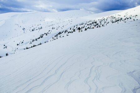Carpathian mountains in winter,covered with snow, Ukraine Banco de Imagens - 132105010