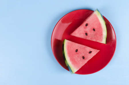 Plate with sliced fresh watermelon, studio shot