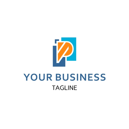 Geometric Letter P with two box represent digital business