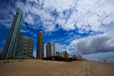 Skyline at Surfers Paradise from Beach Stock Photo - 6030225