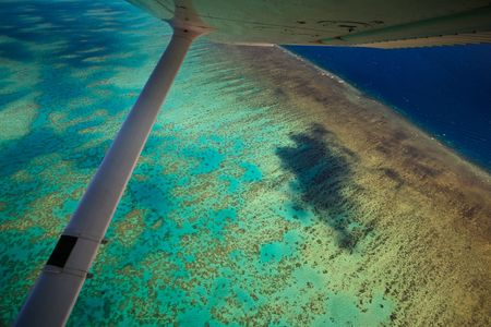 Arlington Reef Aerial View With Plane Wing Great Barrier Reef Stock Photo - 6051680