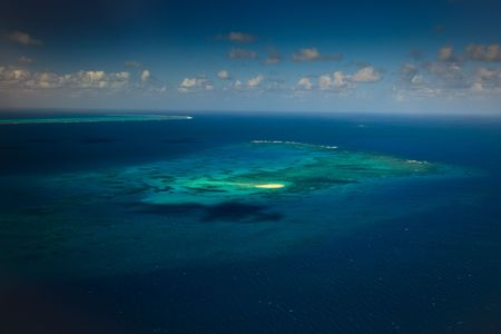 Aerial View of Upolu Cay Great Barrier Reef Australia photo
