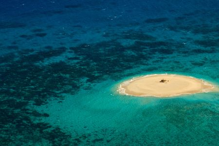 Aerial View of Upolu Cay Great Barrier Reef helicopter landing pad photo