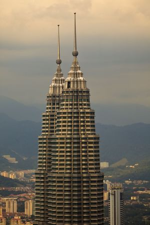 Twin Towers Dominate Skyline of Kuala Lumpur at Dusk