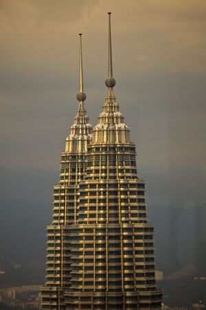 Cityscape with Towers at Twilight in Kuala Lumpur Malaysia
