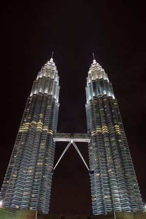 Towers Stretch Skyward in Kuala Lumpur Night Editorial