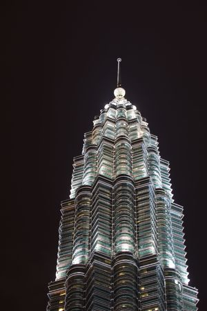 Graceful Pattern of Illuminated Windows on  Towers at Night  Kuala Lumpur Malaysia