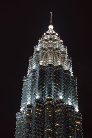 Twin Towers at Night, Kuala Lumpur Malaysia Against a Black Sky
