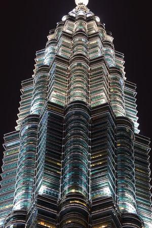 Windows of Twin Towers Featured at Night Skyline in Kuala Lumpur, Malaysia