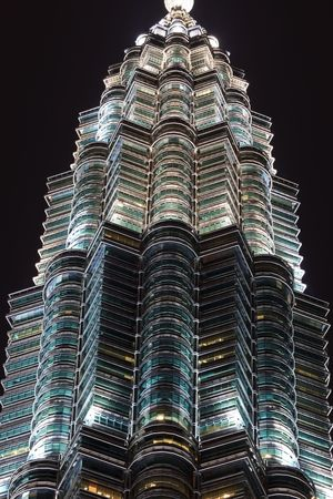 Windows of Twin Towers Featured at Night Skyline in Kuala Lumpur, Malaysia
