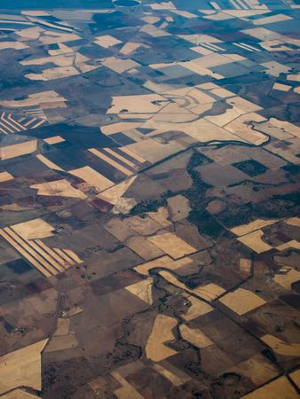 Panoramic, Aerial view of farmers fields Queensland Australia