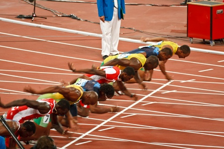 olympic game: Beijing, China ,Olympics - Aug 18 2008: 100 meter Sprint starting line, Start of Men