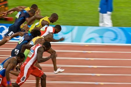 Beijing, China, 18 augustus 2008, Olympische Spelen, 100 meter sprint, Start van heren Stockfoto - 9891446