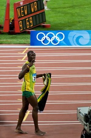 Beijing, China - Aug 16: Sprinter Usain Bolt sets new 100 meter world record for men