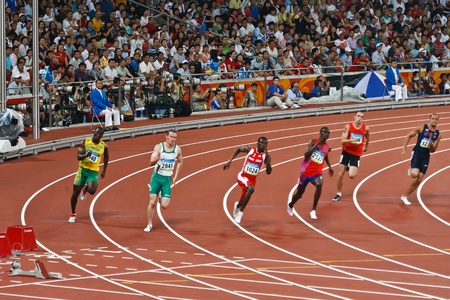 Beijing, China- Aug 18,2008: Olympic sprinters race in 220 meter Men