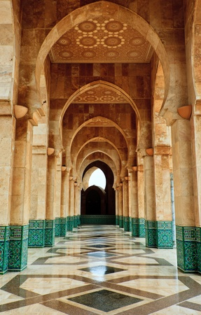 corridors: Casablanca, Morocco:  Intricate exterior marble and mosaic stone archway outside of Hassan II Mosque in Casablanca, Morocco.