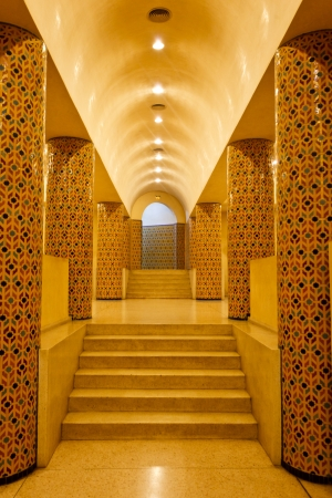 Casablanca, Morocco:  Interior arches and mosaic tilework of hammam turkish bath in Hassan II Mosque in Casablanca, Morocco.