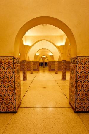 turkish bath: Casablanca, Morocco:  Interior arches and tilework of hammam turkish bath in Hassan II Mosque in Casablanca, Morocco. Editorial