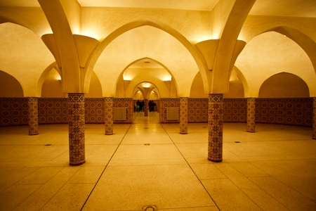 Casablanca, Morocco:  Interior arches and mosaic tilework of hammam turkish bath in Hassan II Mosque in Casablanca, Morocco.