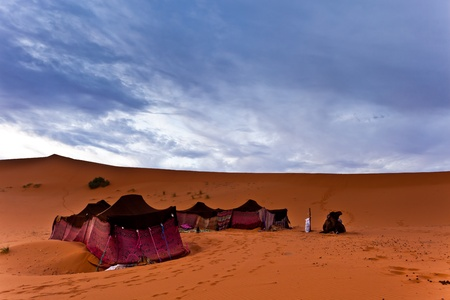 Sahara, Morocco: Bedouin nomad tent camp in the Sahara Desert, Morocco photo