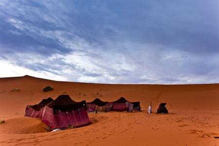 sahara desert: Sahara, Morocco: Bedouin nomad tent camp in the Sahara Desert, Morocco