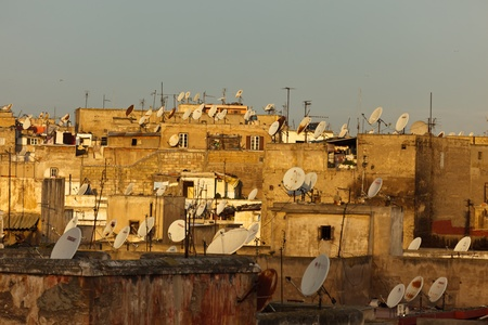 Casablanca, Morocco - Dec 15: Roof tops with satellite dishes in the old quarter  medina,  December 15, 2009 Casablanca, Morocco.