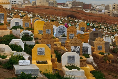 Rabat, Morocco - Dec 16: Headstones and inscriptions in traditional Muslim cemetery,  December 16, 2009 Rabat, Morocco.