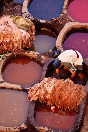 Fez, Morocco Dec. 22: Man working in colorful tanning pools of traditional leather tannery, Dec. 22, 2009, Fez Morocco