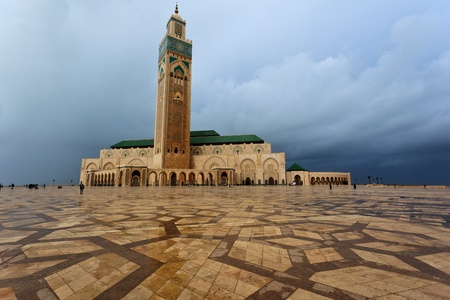 Panorama of the front of Hassan II Mosque in Casablanca, Morocco photo