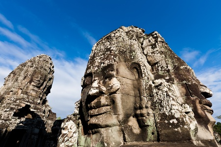 SIEM REAP, CAMBODIA  Famous head statues of ancient Prasat Bayon temple at Angkor Wat  Stock Photo