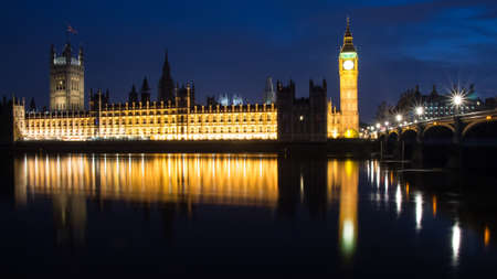 parliaments: Big Ben and House of Parliaments during blue hour