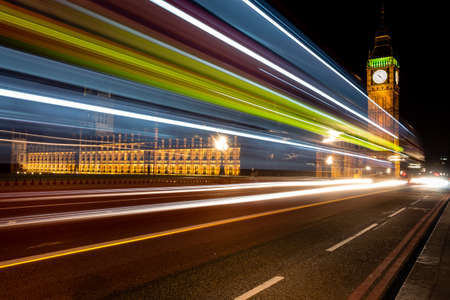 parliaments: Big Ben at night with traffic trails