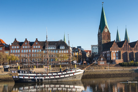 seen: Bremen as seen from the river Weser