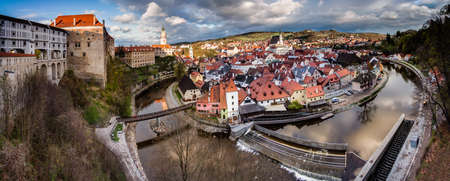 unesco in czech republic: Panoramic view of cesky krumlov as seen from the castle above the river vltava