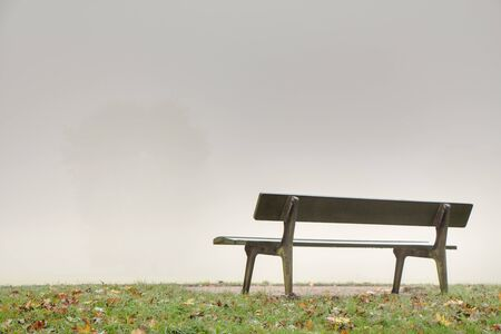 dismal: bench on a grassy knoll in foggy weather Representing dismal prospects