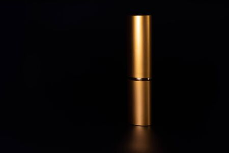 The case for glasses stands vertically on a black background. The case is gold-plated and has a reflection.