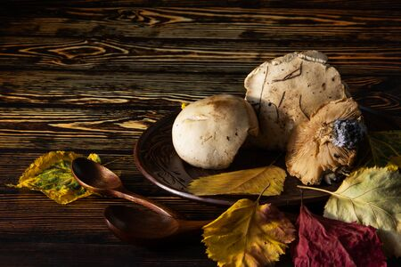 On a wooden table in an clay plate are three forest mushrooms and two wooden spoons in the foreground. On the table are autumn yellow leaves.
