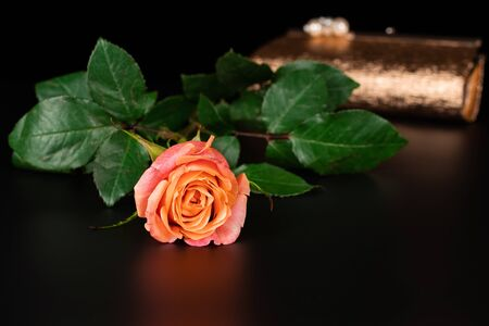 Against the background of a handbag with mother-of-pearl beads lies a beautiful tea rose. The background is black.