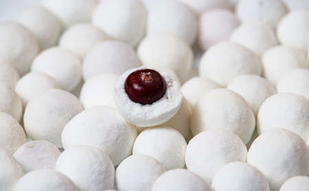 Against the backdrop of many balls of powdered sugar, cranberries lie in a crushed shell in the center. A photograph with a soft focus.