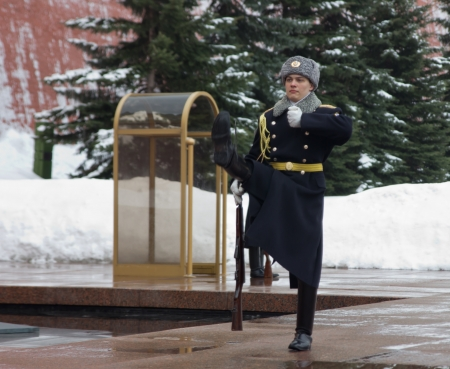 Change of the guard of honor at the grave of the unknown soldier in the Red Square in Moscow