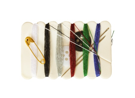 notions: Sewing Notions - travel kit on a white background Stock Photo