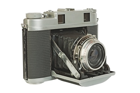 folding camera: Old photo camera, a rangefinder with  accordion  folding lens