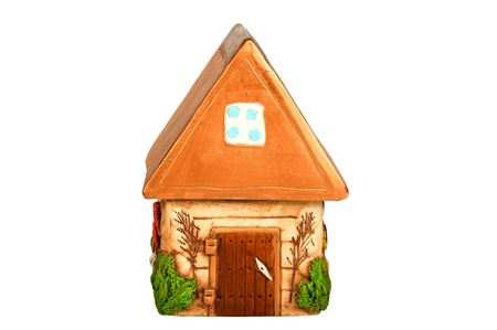 Miniature model country home  piggy bank , ceramic   photo